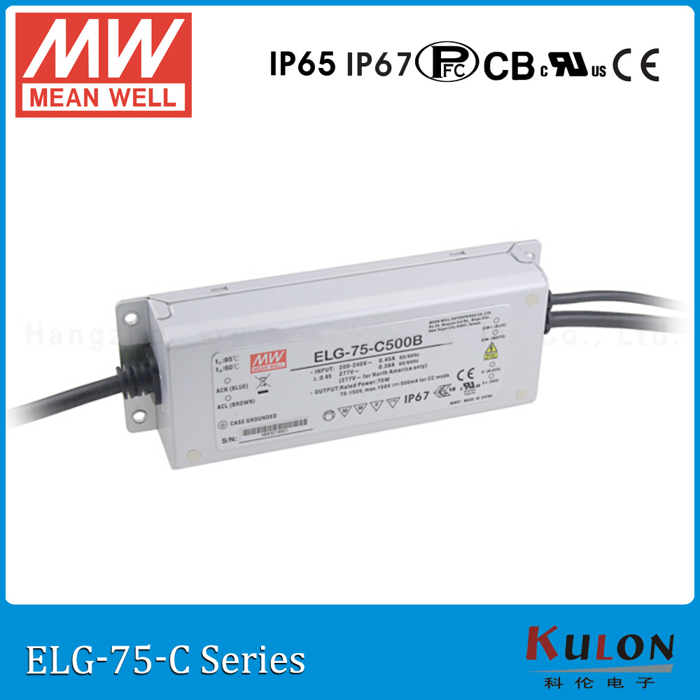 Original MEAN WELL ELG-75-C1050B constant current dimming LED driver 1050mA 35 ~ 71V 75W meanwell power supply ELG-75-C dimmable 90w led driver dc40v 2 7a high power led driver for flood light street light ip65 constant current drive power supply