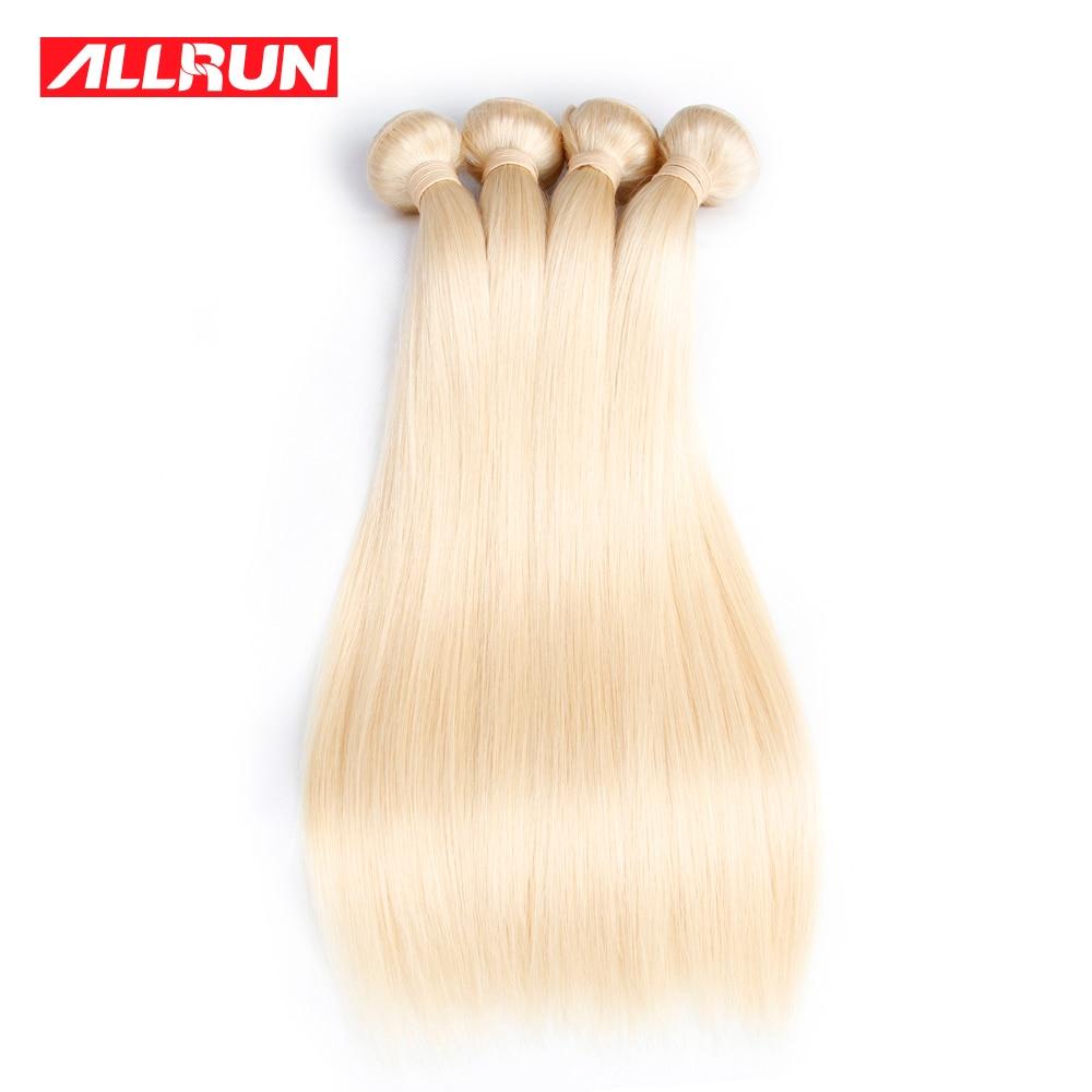 "ALLRUN Peruvian Straight Hair Weave #613 Blonde Non Remy Hair Bundles 100% Platinum Human Hair Extension 12""-24"" Free Shipping"