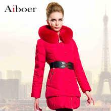 2015 Winter Thicken Warm Woman Down jacket Hooded Coat Parkas Outerwear Fox Fur collar Luxury Slim Mid Long Plus Size  Belt
