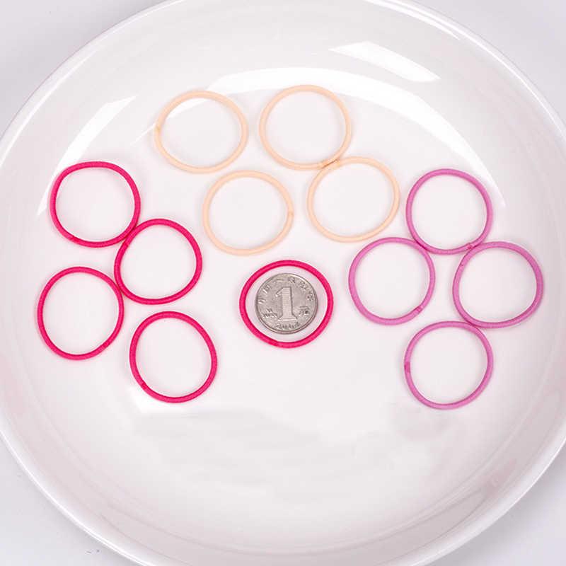 100 Stks/partij 3 Cm Meisjes Elastiekjes Scrunchy Elastische Haarbanden Kids Baby Hoofdband Decoraties Banden Gom Accessoires