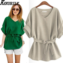 Summer soild linen tops ladies 3xl 4xl 5xl plus size women clothing Waist adjustment korean fashion office bow linen blouses