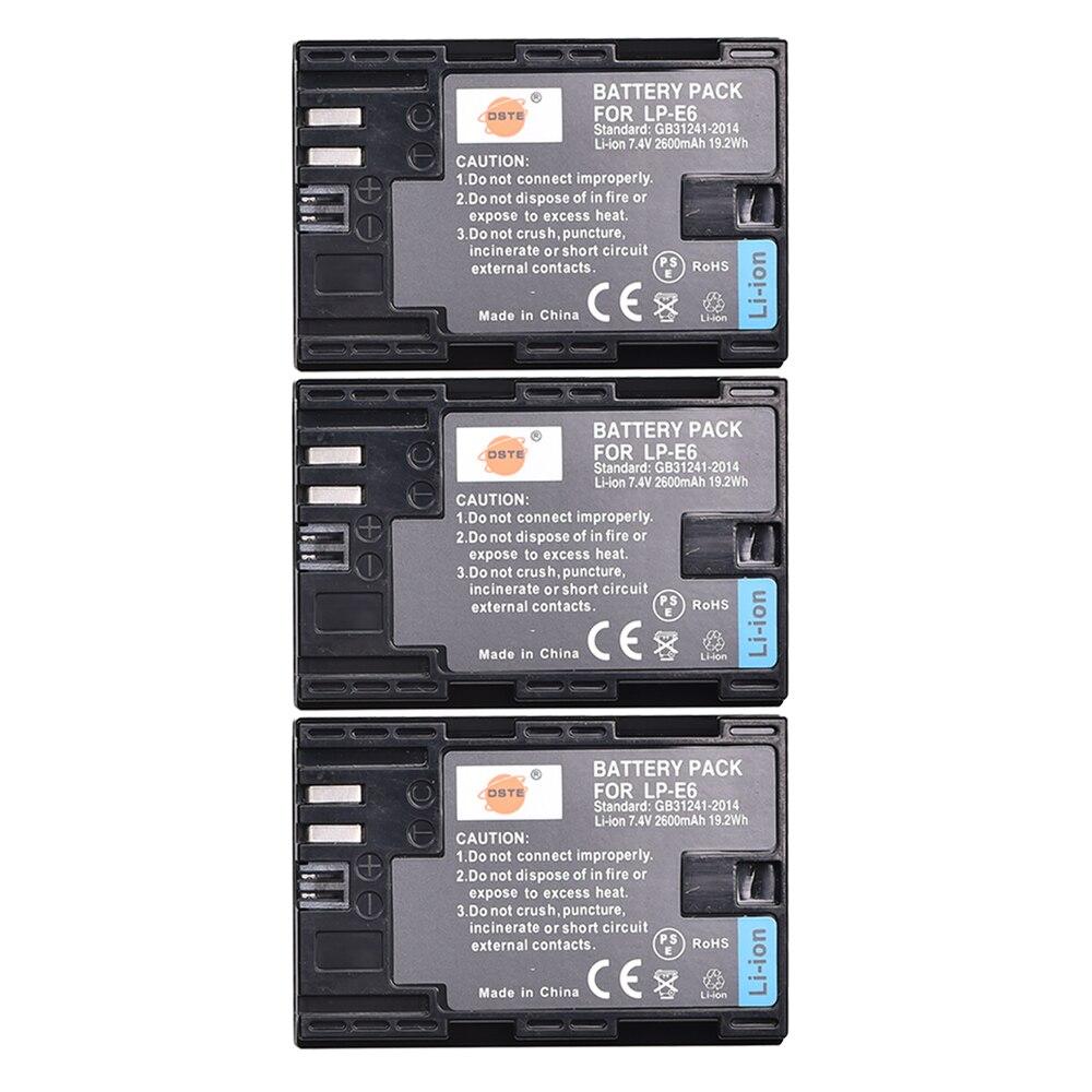 DSTE 3 piezas 2600 mAh LP-E6 LP E6 LP-E6N lp e6n batería para Canon EOS 6D 7D 5DS 5DSR 5D mark II 5D Mark III IV 60D 60Da 70D 80D