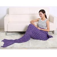 Portable Mermaid Tail Blanket Air Conditioner Blanket Throw Bed Sofa Car Wrap Keep Warm Blanket Sleeping Bag for Kids Xmas Gifts