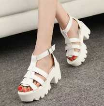 2017 new fashion thick with sandals women european style summer sexy cake thick with PU roman sandals student shoes women hot