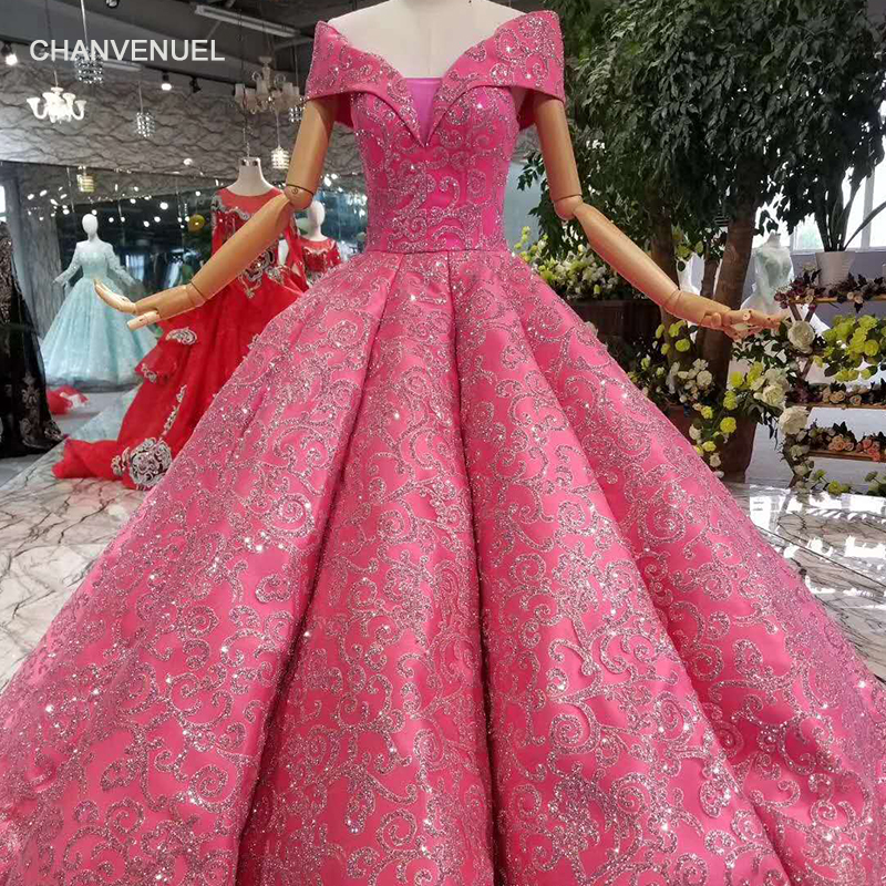 LSS1004 shiny ball gown wedding party dresses sexy off the shoulder v neck evening party dresses 2018 princess girl with glitter