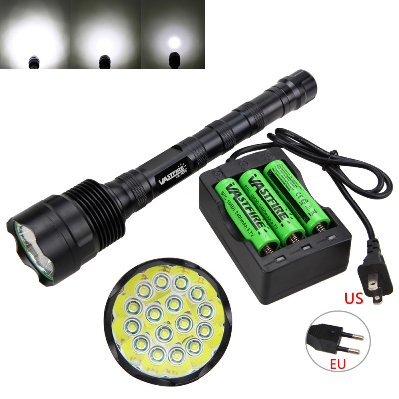 VASTFI Flashlight ultrafire 60000LM 16x XM-L T6 LED Tactical Flashlight Torch Hunting Lamp 3x18650+Charger flashlight for diving 60000lm 5 modes 16x xml t6 led flashlight torch light lamp 18650 battery charger