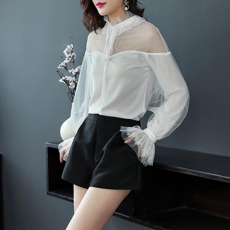 Blanc en mousseline de soie blouse 5xl mousseline de soie chemises décontracté bohème femmes chemisiers et hauts de dames d'été 2019 sexy lâche dentelle Épaule