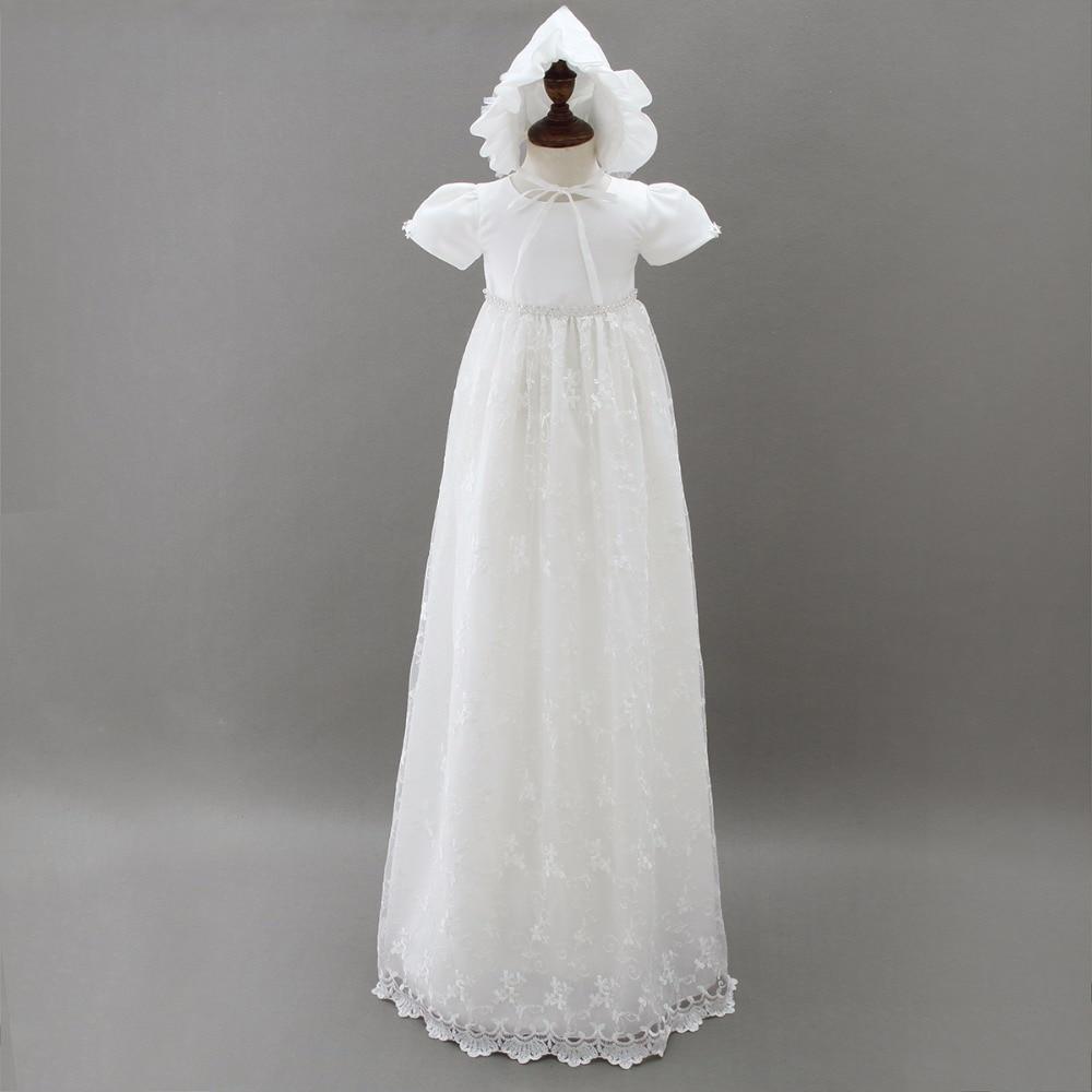 Haut de gamme bébé filles robes de baptême nouveau-né baptême longue robe de traînée pour princesse infantile 1 an fête d'anniversaire porter