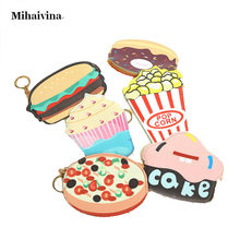 2017 Fashion Simulation Cute Cartoon Ice Cream Cake Hamburger Pizza And Popcorn PU Coin Zipper Purse Wallet Card Bag Girl Women.(China)