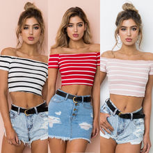 New Stripped Streetwear Women Sexy Off Shoulder Tank Top Vest Blouse Crop Tops Shirt off shoulder drawstring split front crop blouse