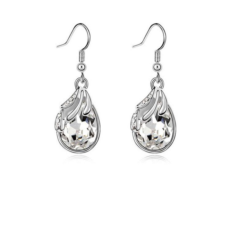 Silver Water Drop Earrings White Women Pendientes Nickel Free Brincos De Prata 4