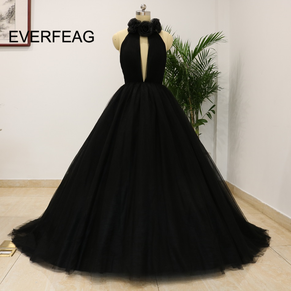 Real Picture 2018 Sexy Ball Gown Prom Dresses Black Deep V Neck Tulle Halter Flower -5954