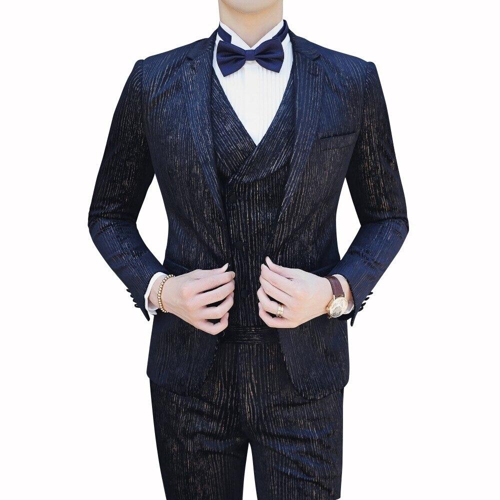 Casual Clothing (Blazer+vest+pant ) Trajes De Hombre Costume Mariage Homme Tuxedo 2019 Autumn Men's Stripe Suits Men Business