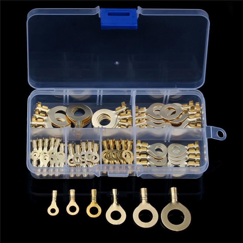 Yt não-isolado anel cabo talha 150 pces sortidas anel olhos 3.2-10.2mm fio cabo conectores latão terminais sortimento kit