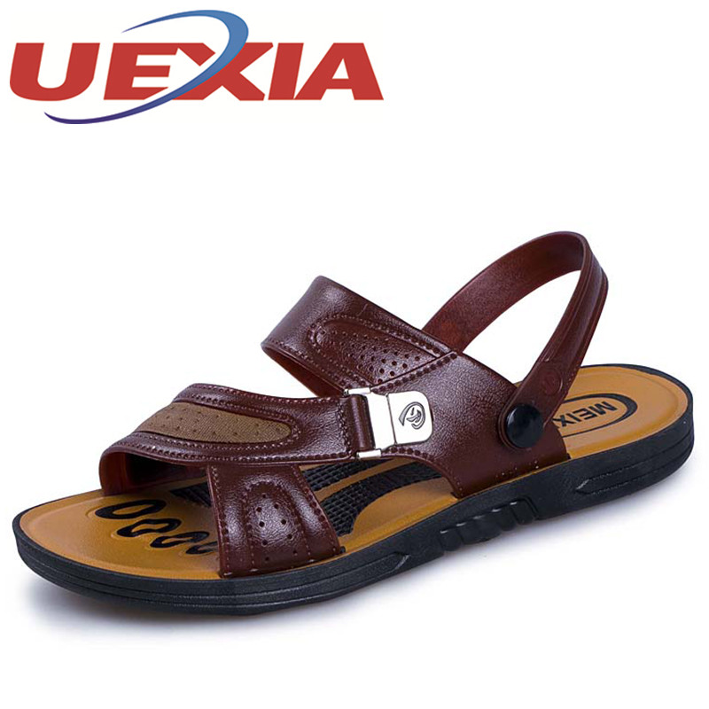 Summer Fashion Breathable Shoes Mens Casual Slippers Sandals Shoes Outdoor Pu Leather Flat Water Beach Slippers Shoes For Men