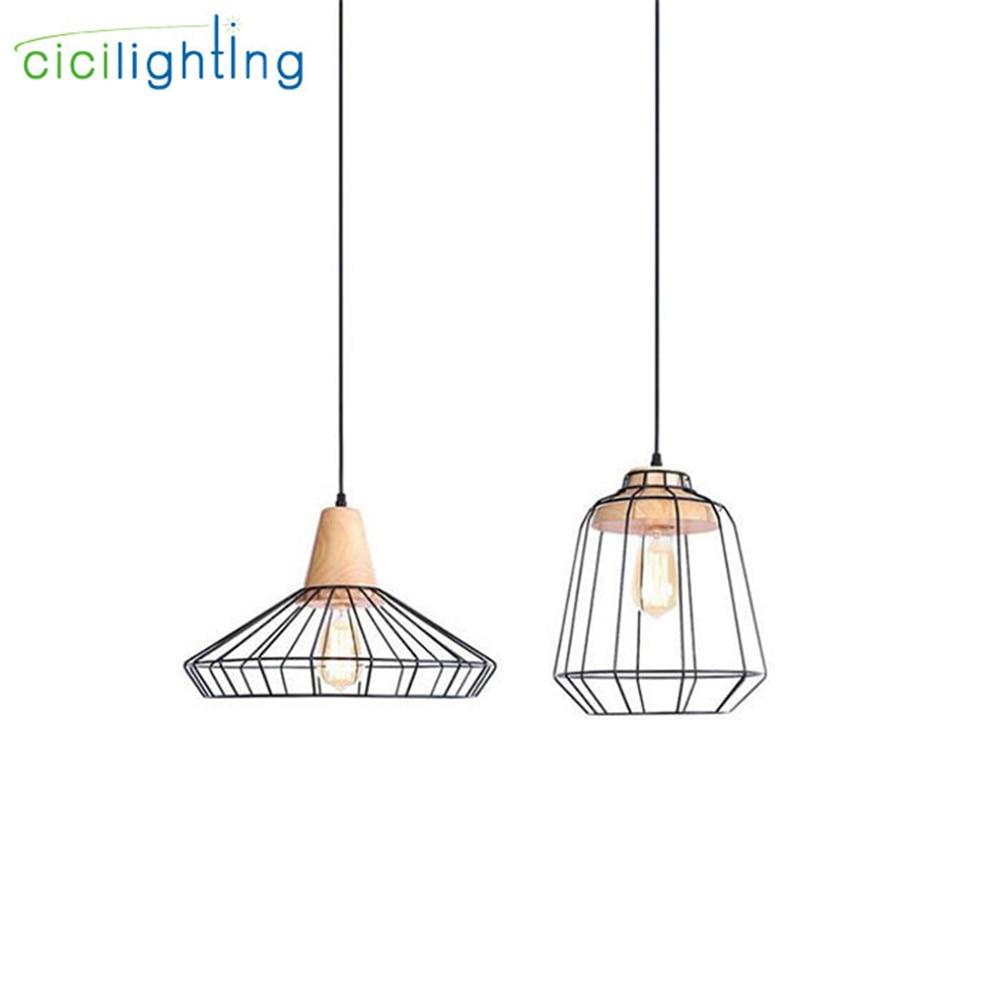Europa stijl Metalen lampenkap + Hout E27 LED hanglampen nostalgische decoratieve ijzeren hanglampen for a eetkamer iluminacion luzes