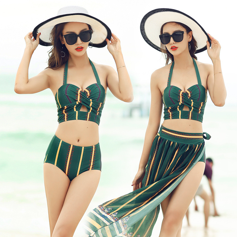 High-quality women split swimsuit new swimwear split bikini three-piece blouse cover belly small chest gathering hot YY28 staerk swimsuit skirt type conjoined steel supporting small chest belly thin cover gather conservative large code hot swimwear
