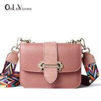 Casual female bag fashion ladies belt buckle wide shoulder strap small square bag shoulder diagonal package