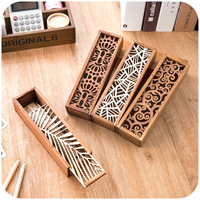 1 Pc Lot Classic Hollow Wooden Pencil Box Pencil Case For School Stationery Office Supply