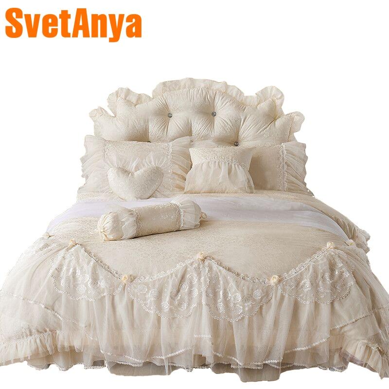 Svetanya luxury embroidery lace bedding sets 4pcs 7pcs jacquard cotton Bedlinen Queen King duvet cover coverlet