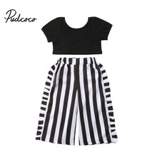 a4c1dd9b7005b 1-6Y Toddler Kids Baby Girl Fashion Clothes Short Sleeve Black Crop Tops+ Striped Wide Leg Pant Trouser 2PCS Outfits Clothing Set