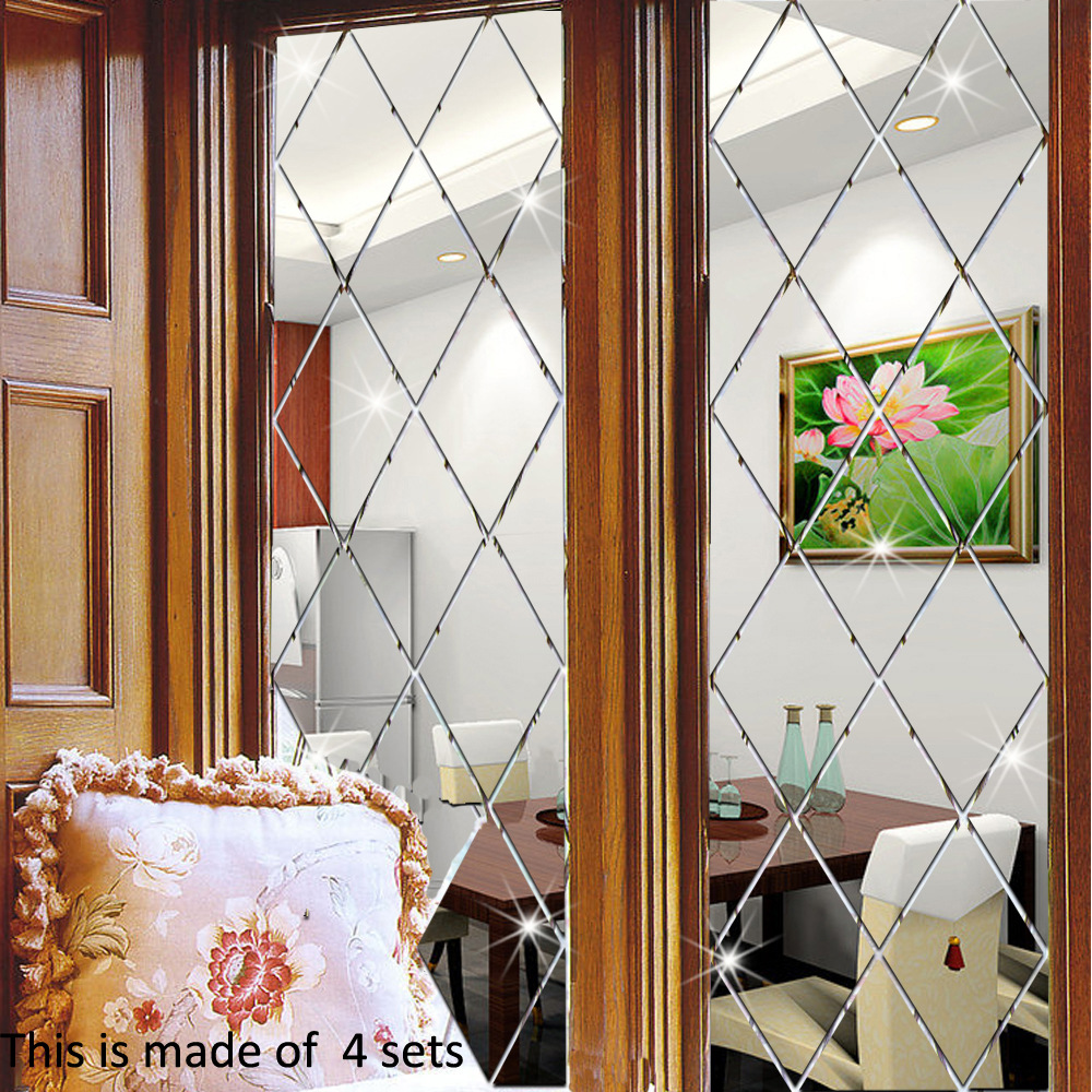 Diamond pattern acrylic mirror sticker wall stickers living room dining home decoration decorative 3d decals custom