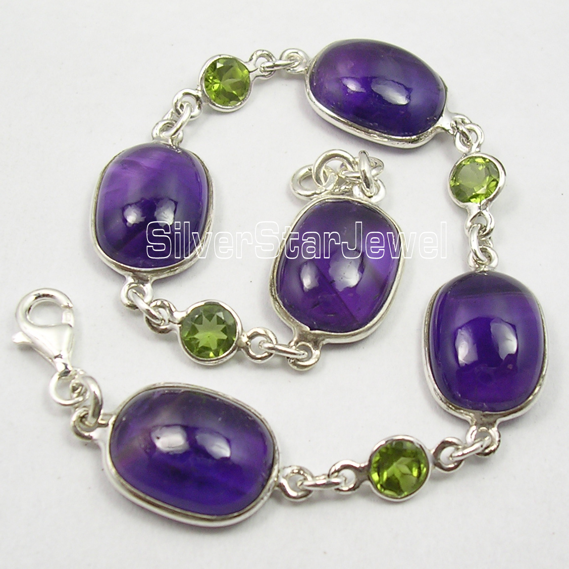 Chanti International Solid Silver Real Amethysts & PERIDOT Heavy Bracelet 8 3/8 Inches 18.0 Grams 3 inches of blood 3 inches of blood long live heavy metal