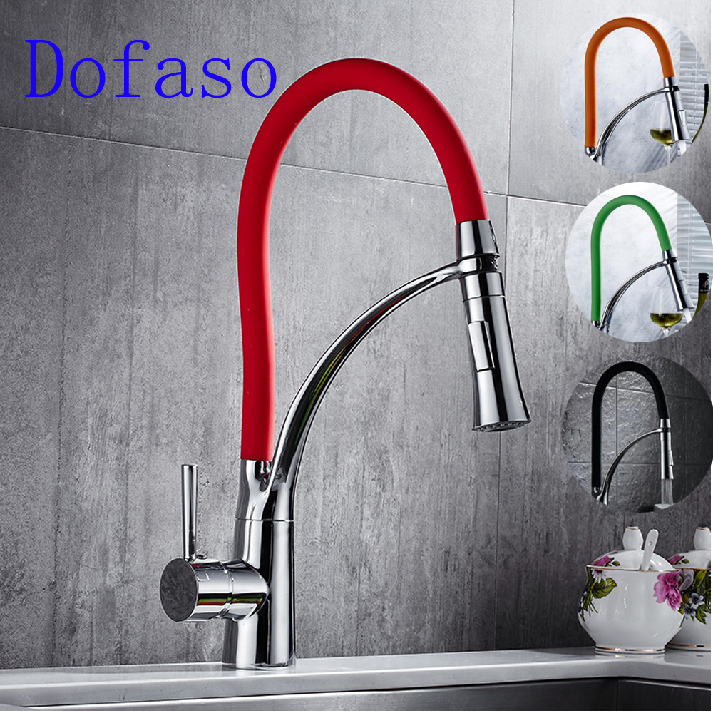 Dofaso Quality Brass Pull Down Kitchen Faucet Red And