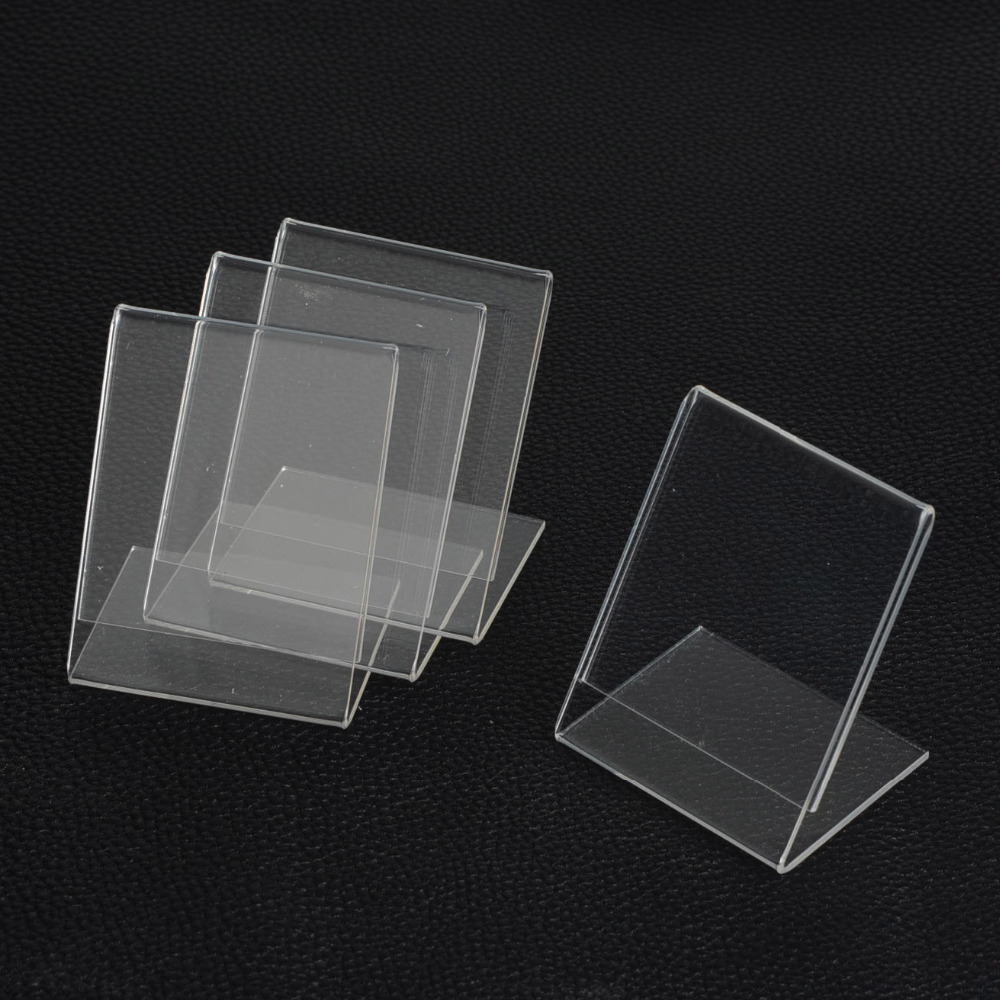 Wholsale 20pcs 5*7CM Clear Namecard Price Tag Advertisement Display Stand Holder Showcase Jewelry Display Jewelry Organizer