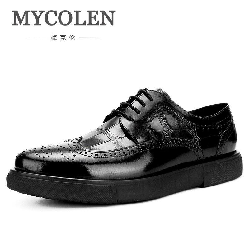 MYCOLEN Spring Autumn Formal Wedding Shoes Luxury Men Business Dress Shoes Men Casual Round Toe Men Shoes Zapato Hombre Piel