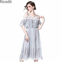 Readit Women Dress 2017 Summer Dress Off Shoulder Floral Printed Chiffon Dress Slash Neck Mid Calf