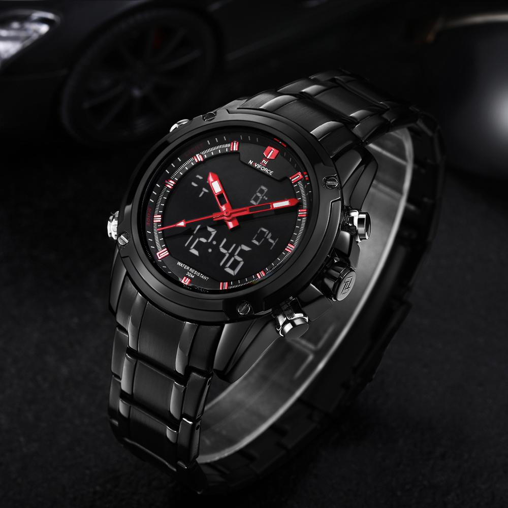 NAVIFORCE Military Watches Luxury Brand Quartz LED Digital Watch Full Steel Strap Waterproof Army Fashion Dual Time Analog Clock