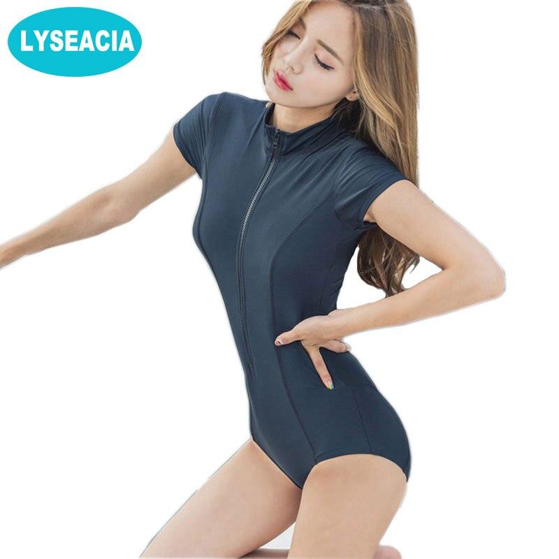 ffcac919beee3 LYSEACIA Black Sexy Women Swimwear One Piece Suits Beach Wear Push Up Swimsuit  Zipper New Short Sleeve RASHGUARD Swimming Suit. В избранное. gallery image