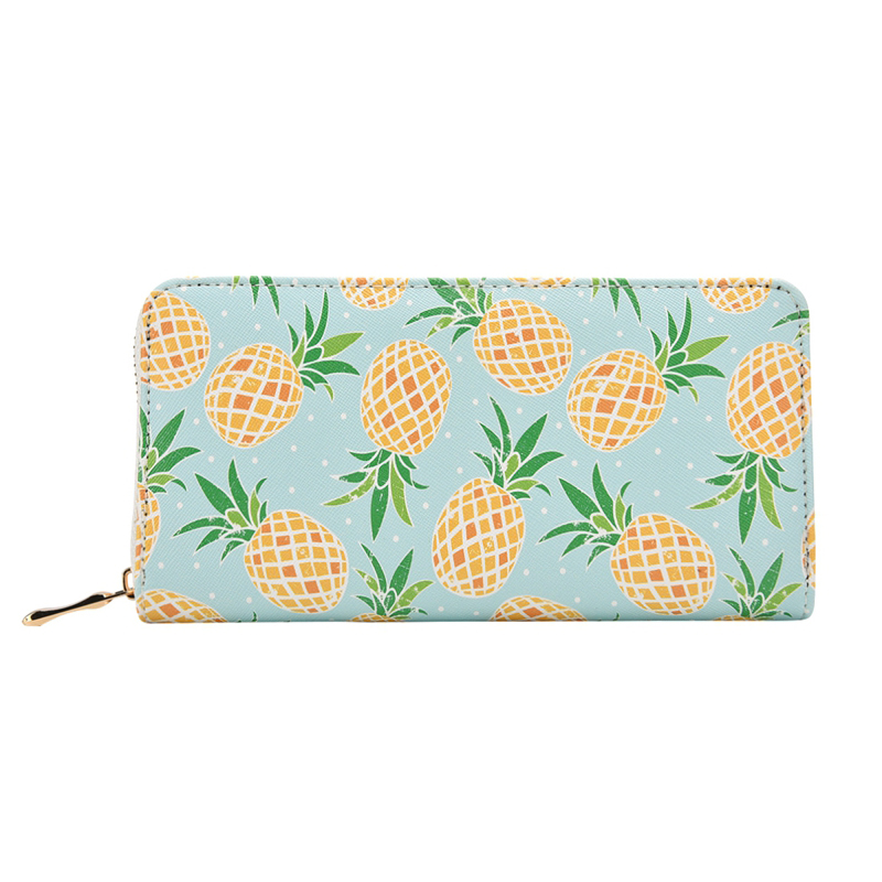 Badiya Women Pineapple Fruit Printing Summer Long Wallet PU Leather Phone Pocket Ladies Card Holder Bag Girls Zipper Coin Purse 1