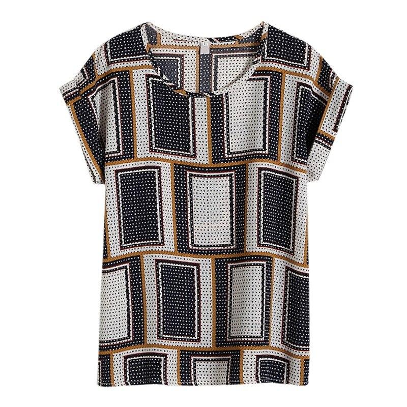 Summer Women's Casual Blouse Shirt Floral Chiffon Print O Neck Short Sleeve Lady's Top Loose Blusas Plus Size L-4XL