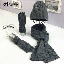 3 PC 여성 겨울 니트 모자 모자 모자 스카프 장갑 세트 패션 트위스트 줄무늬 모자 Gorros 보닛 양모 손 뜨개질 스카프