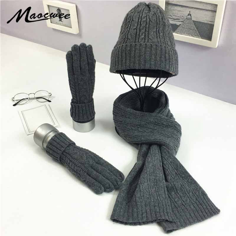 3 PC Women's Winter Knitted  Hat Cap Hat Scarf Glove Sets Fashion Twist Stripes Cap Gorros Bonnet Wool Hand Knitting Scarf