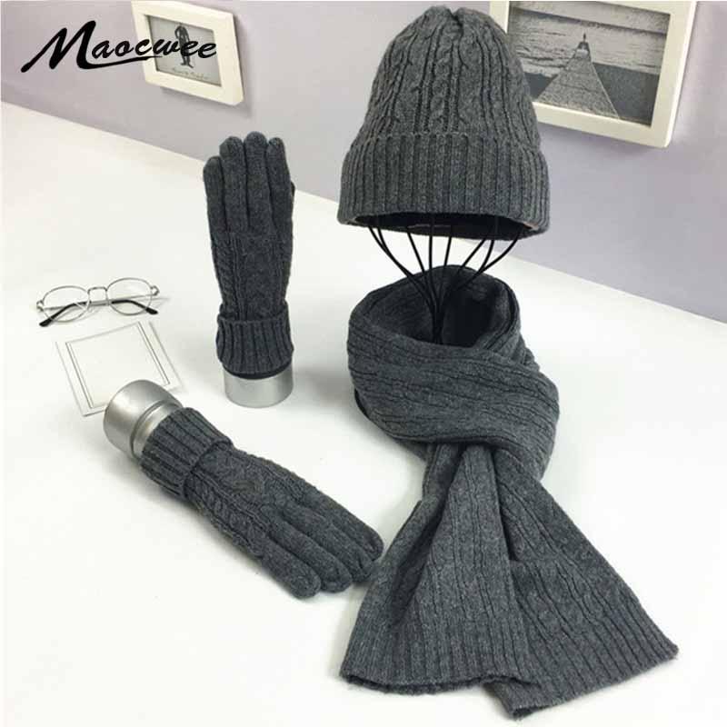 3 PC Women's Winter Knitted  Hat Cap Hat Scarf Glove Sets Fashion Twist Stripes Cap Gorros Bonnet Wool Hand Knitting Scarf