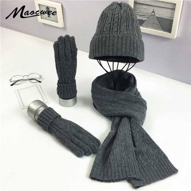3 PC Womens Winter Knitted  Hat Cap Hat Scarf Glove Sets Fashion Twist Stripes Cap Gorros Bonnet Wool Hand knitting Scarf