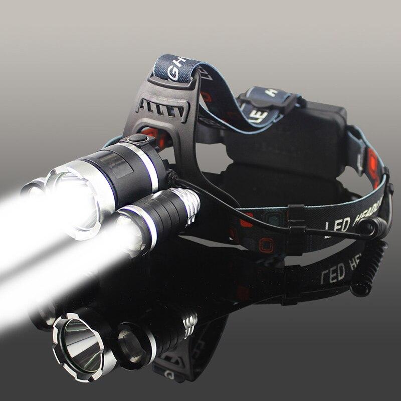 T6 LED Headlight Headlamp 9000 Lumen Rechargeable Head Light Flashlight 18650 Waterproof Portable Fishing Hunting Torch Lights in Headlamps from Lights Lighting