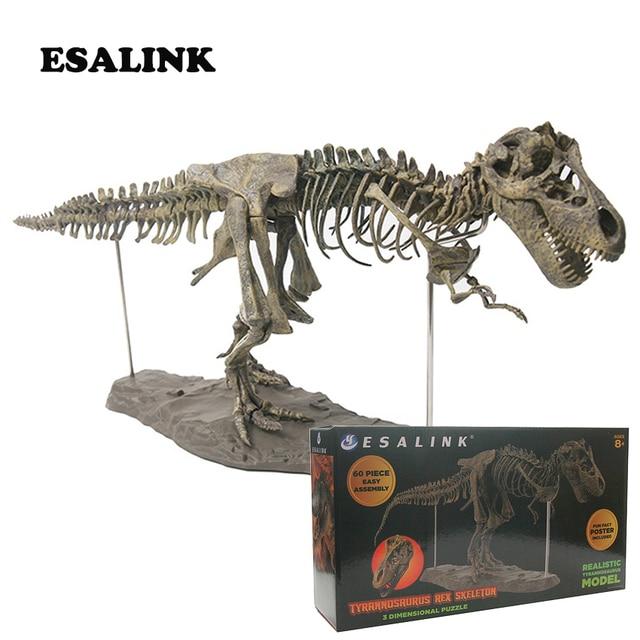2019 Hot modelo 4D T-rex esqueleto fóssil grande pvc modelo de dinossauro Animatronic modelo enigma diy brinquedo para crianças com caixa