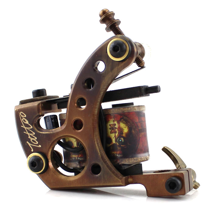 Recommend One Professional Tattoo Machine Brass 10 Wrap Coils for Liner Supply Handmade Tattoo Machine Good