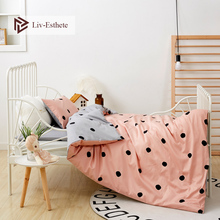 Liv-Esthete 2019 New 3Pcs 100% Cotoon Cute Dot Kids Cartoon Bedding Set Duvet Cover Pillowcase Bed Linen For Mom Baby