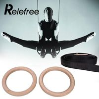 Relefree New 2Pcs New Wooden 28mm Hanging Ring Exercise Fitness Gymnastic Rings Gym Exercise Crossfit Pull