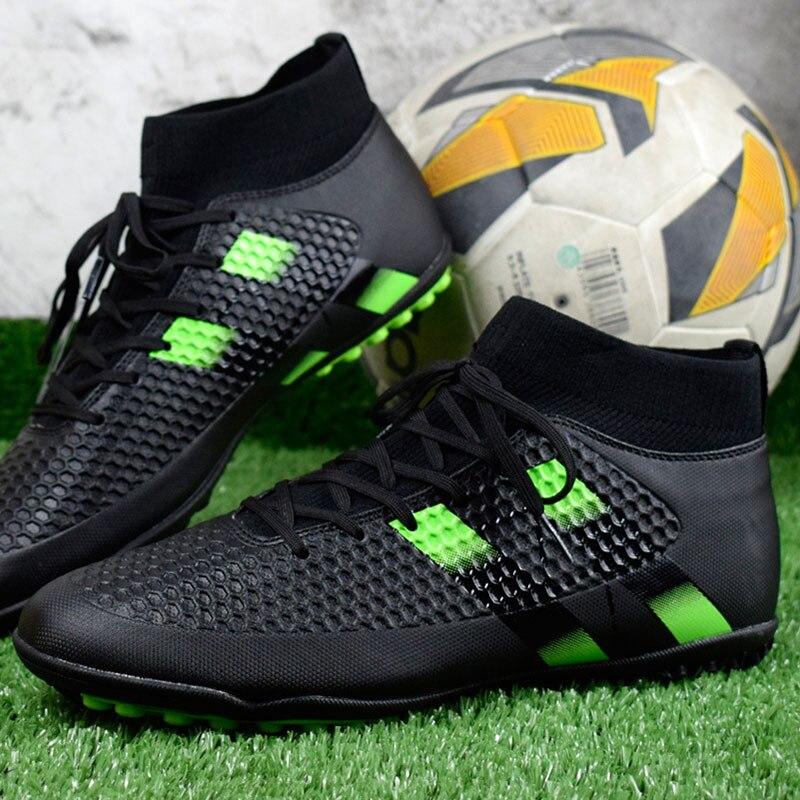 ZHENZU Futebol Pico Crampon Futebol Sapatos de Alta Tornozelo dos ... 3649848fa1dee