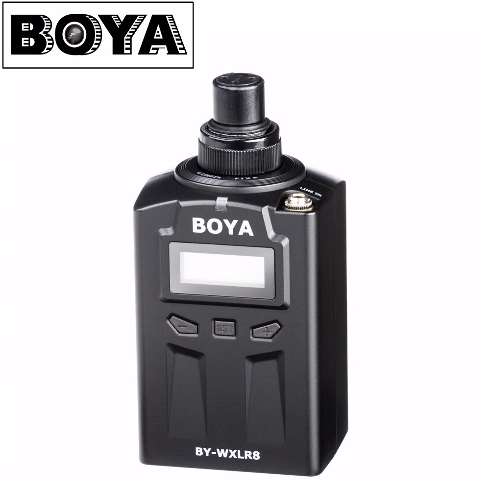 BOYA BY-WXLR8 Plug-in XLR Audio Trasmettitore con Display LCD per BY-WM8 BY-WM6 Lavalier Wireless Microfono Sistema