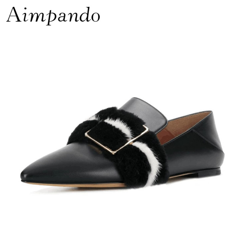 Two Wear Casual Shoes Women Sexy Pointed Toe Luxury Fur Square Buckle Leather Slim Mules Flat Shoes Woman pointed toe flat mules