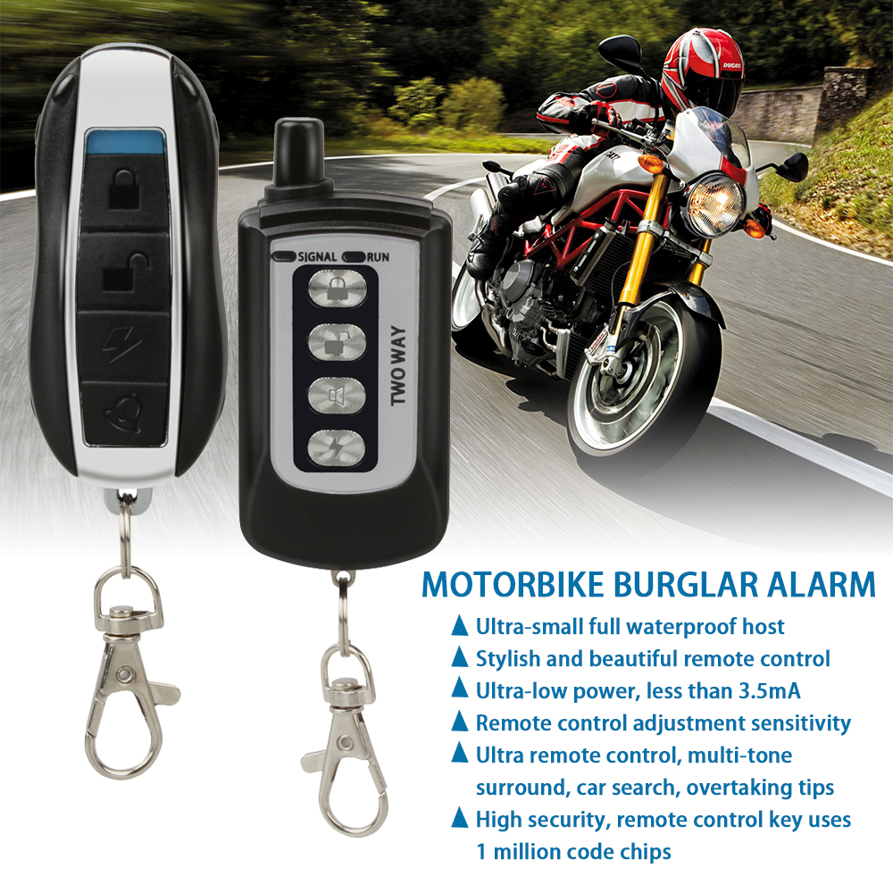 Two Way Motorcycle Alarm System Anti-theft Protection Motorbike Burglary Alarm Remote Engine