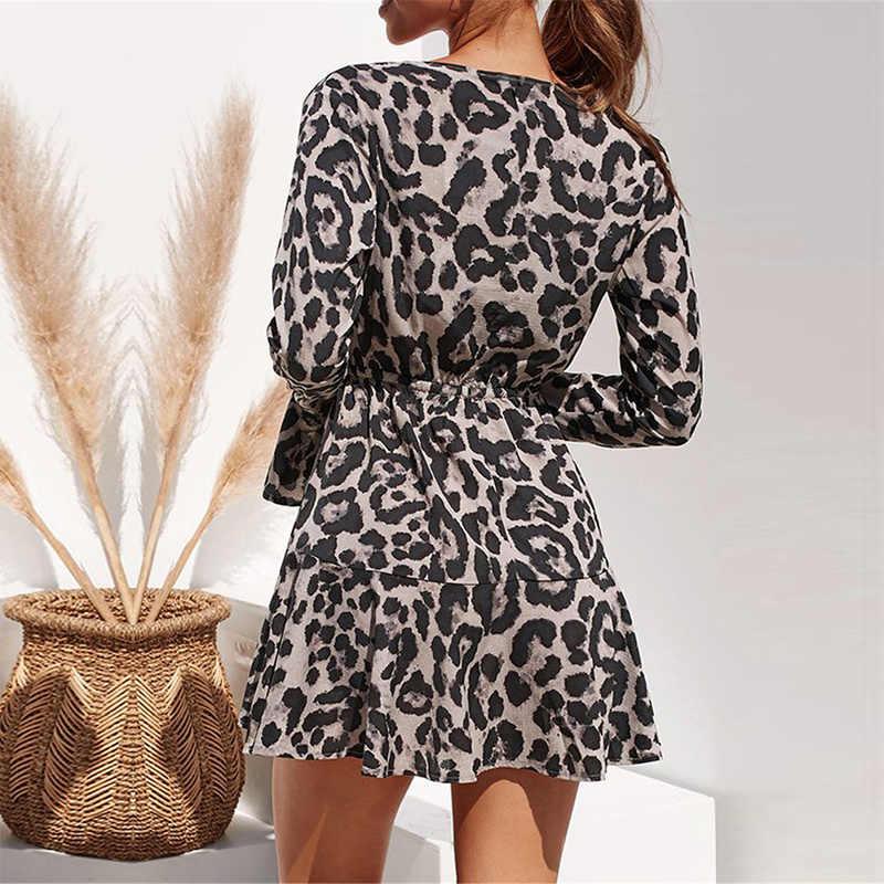 Леопардовое мини-платье 2019 женское сексуальное платье с глубоким v-образным вырезом платье с анималистическим принтом Осенние Длинные рукава-фонарики с оборками Женские винтажные платья
