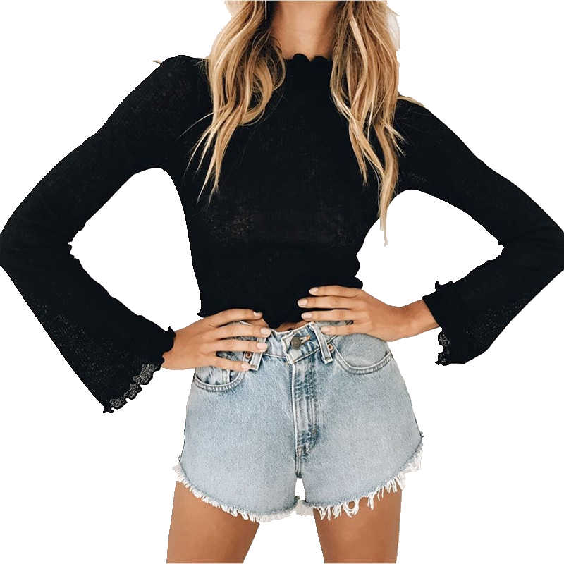 Long Sleeve T-shirt Women Crop Top 2017 Stringy Selvedge Party Bustier Crop Top Elastic Tube Club Women Top